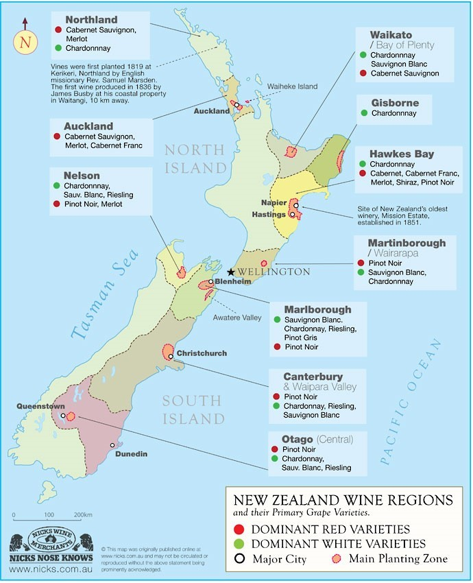 Map of wine regions in New Zealand